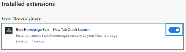 edge setting for enabling browser extension
