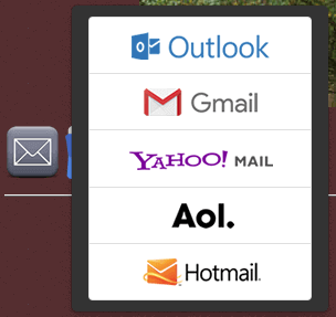 Email selection popup on Best Homepage Ever